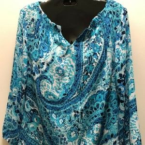 Talbots Brand Top - Shirt is Size XS Blue Paisley